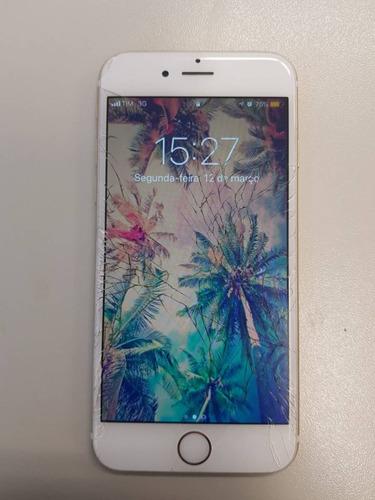 iphone 6 16gb dourado / tela trincada / funciona normalmente