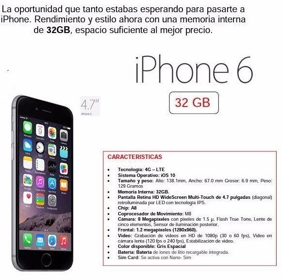 0f18aad44a7 iPhone 6 32gb Apple Libre Nuevo En Caja - S/ 1.190,00 en Mercado Libre