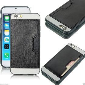 iPhone 6 6s Funda En Piel Negro Trasera