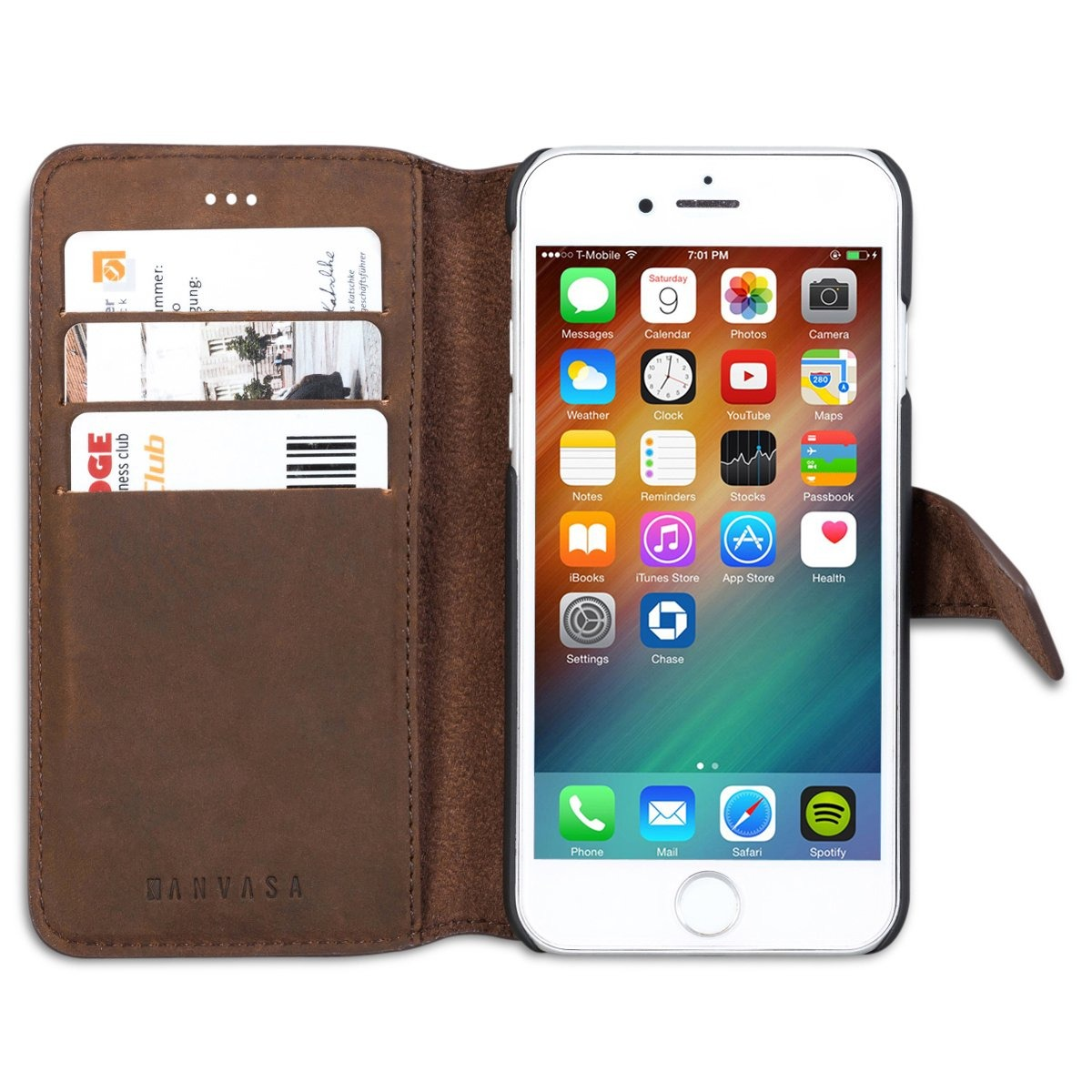 the latest ace15 58e92 iPhone 6 / 6s Leather Wallet Funda Brown - Kanvasa Vintage