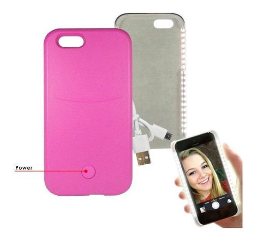 iphone 6 funda selfie led bateria externa powerbank rosa