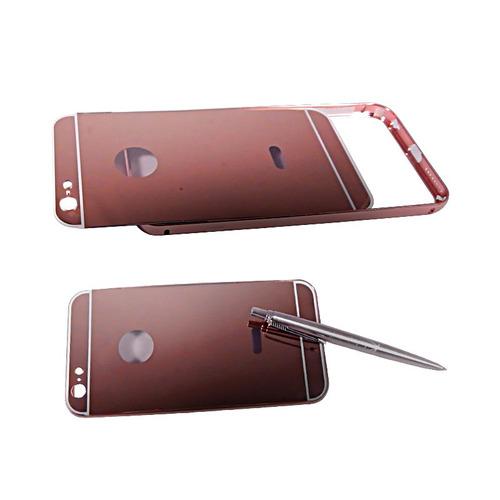 iphone 6 plus funda bumper con tapa tipo espejo rosa
