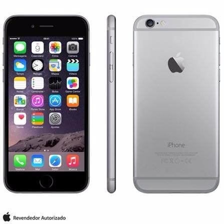 iphone 6 space gray, com tela de 4,7, 4g, 16 gb e câmera de