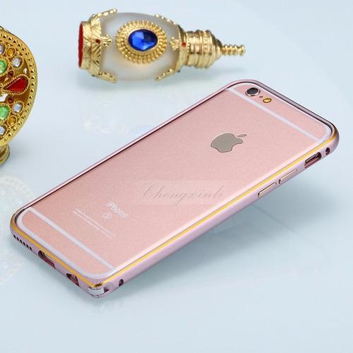 iphone 6/6s bumper bizel rosa aluminio cromado+envio dhl
