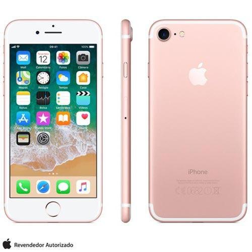 iphone 7 ouro rosa tela 4,7  4g 32 gb câmera 12 mp mn912br/a