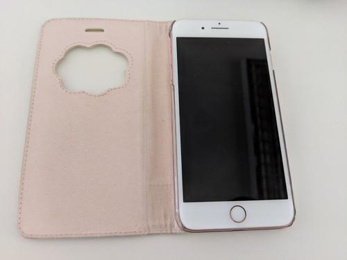 iphone 7 plus 128gb rose gold libre + fundas