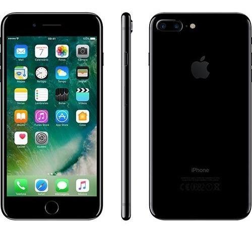 iphone 7 plus 256gb preto brilhante tela retina hd 5,5  3d t