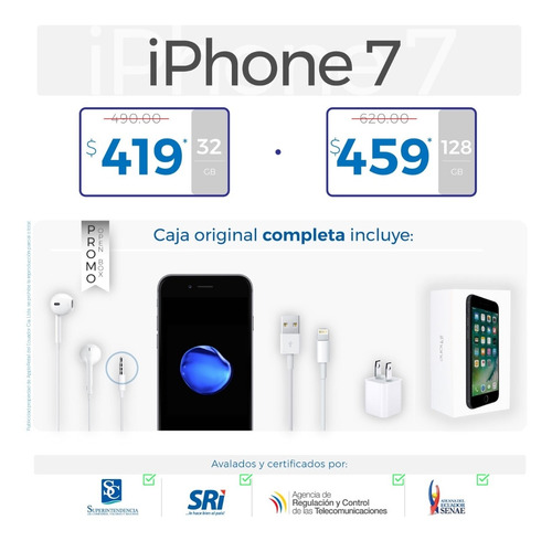 iphone 7 plus 8 plus 6 x 6s 5s se 32 64 128 caja completa