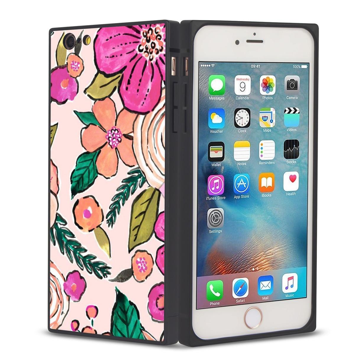 02ed7c27fc1 iPhone 7/8 Cuadrado Teléfono Caso , Flor Dibujo Suave Flexi ...