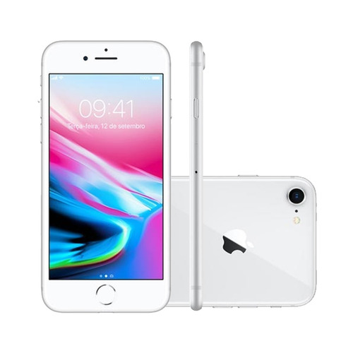 iphone 8 4.7 pol, câmera 12mp + frontal 7mp 256gb prata