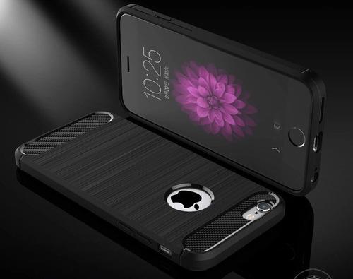 iphone 8 estuche textura fibra carbono + vidrio templado 5d