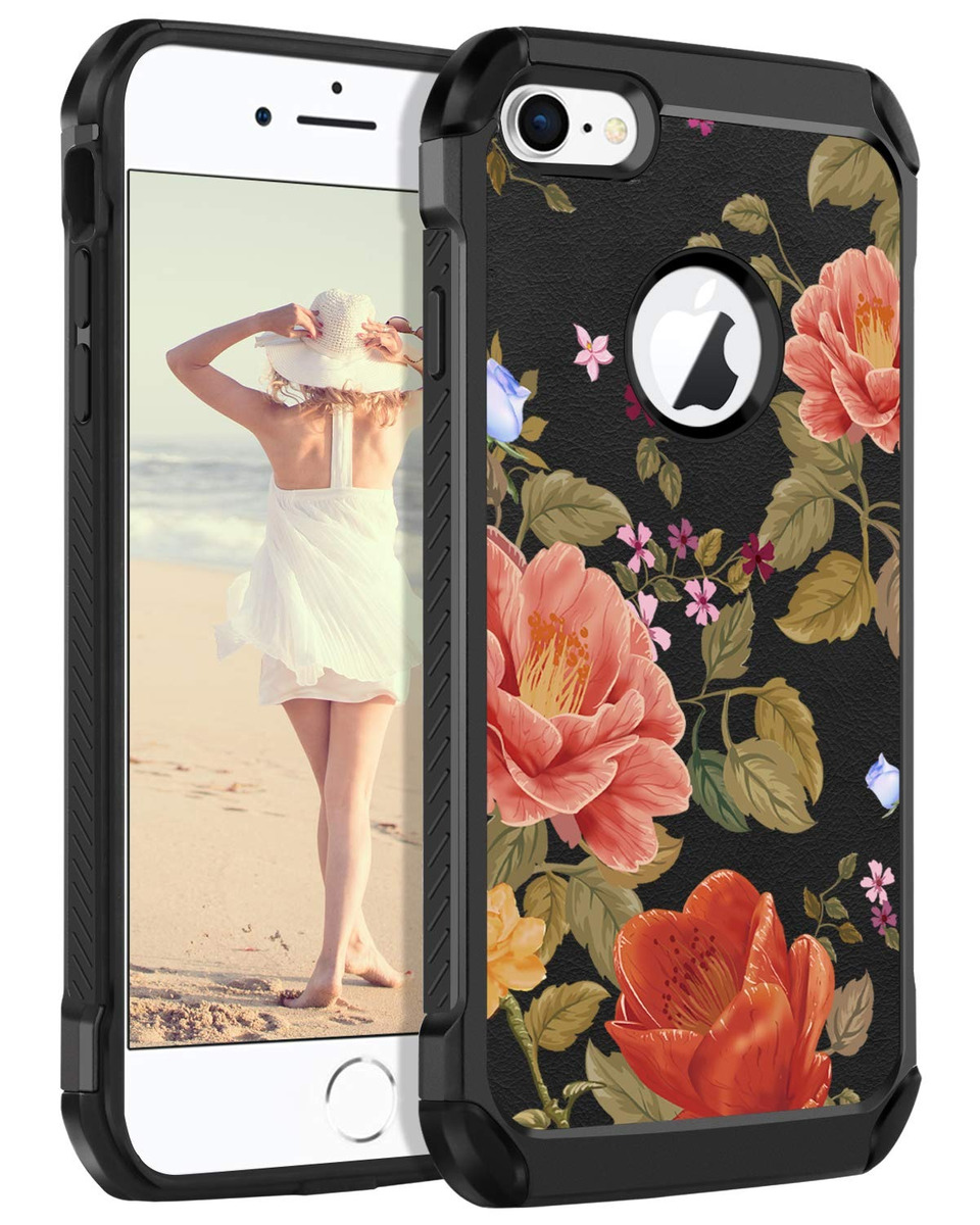 6c01d3786d9 iPhone 8 Funda iPhone 7 Funda Guagua Negro Flor Floral Delga ...