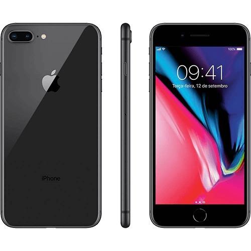 iphone 8 plus cinza espacial c/capinha original