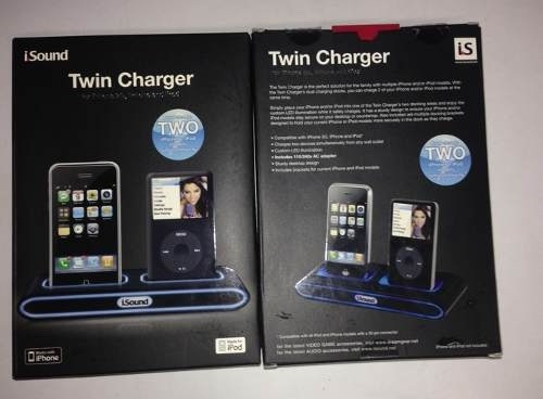 iphone e ipod 4/4s dock isound dgipod-1500 twin charger