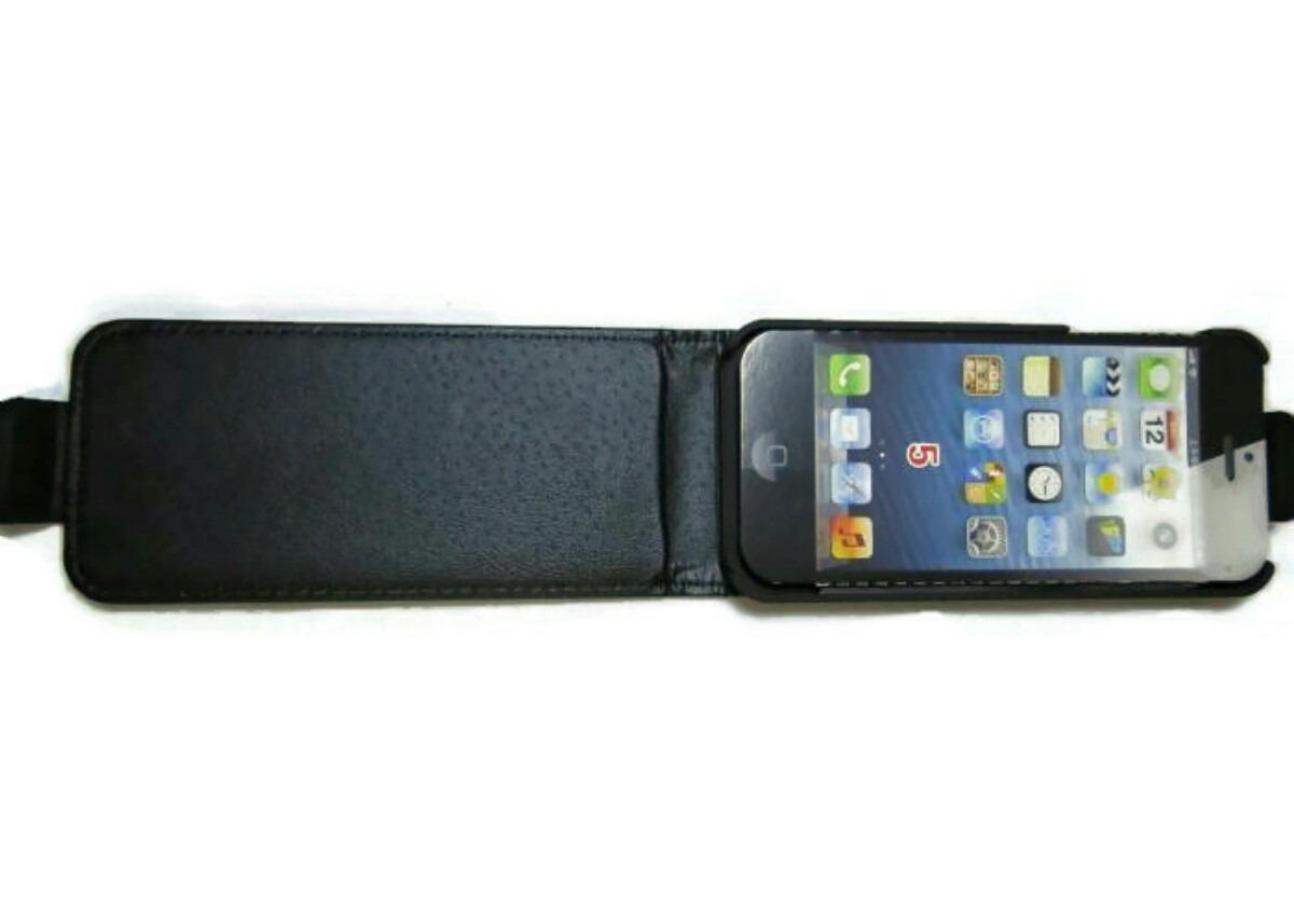 Funda iphone 5 y 5s folder piel negro elegante en mercado libre - Funda de piel para iphone 5 ...