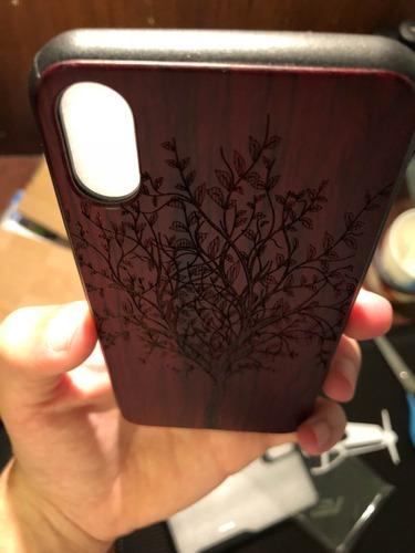 iphone x 10 case en goma y tallado en madera