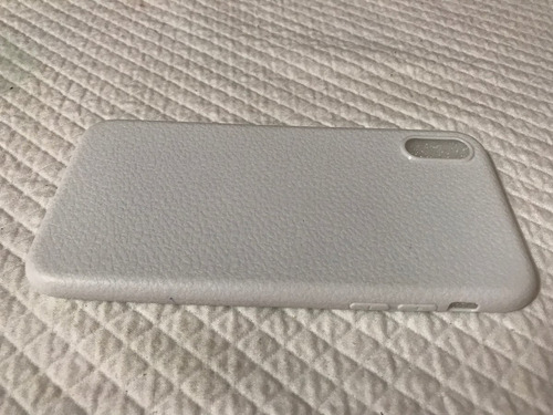 iphone x funda plástica con textura tipo piel tpu blanco