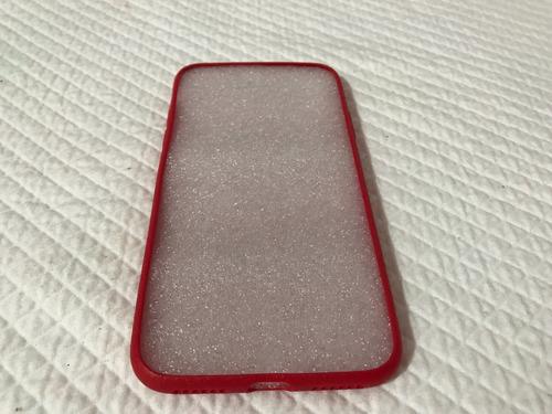 iphone x funda plástica con textura tipo piel tpu rojo
