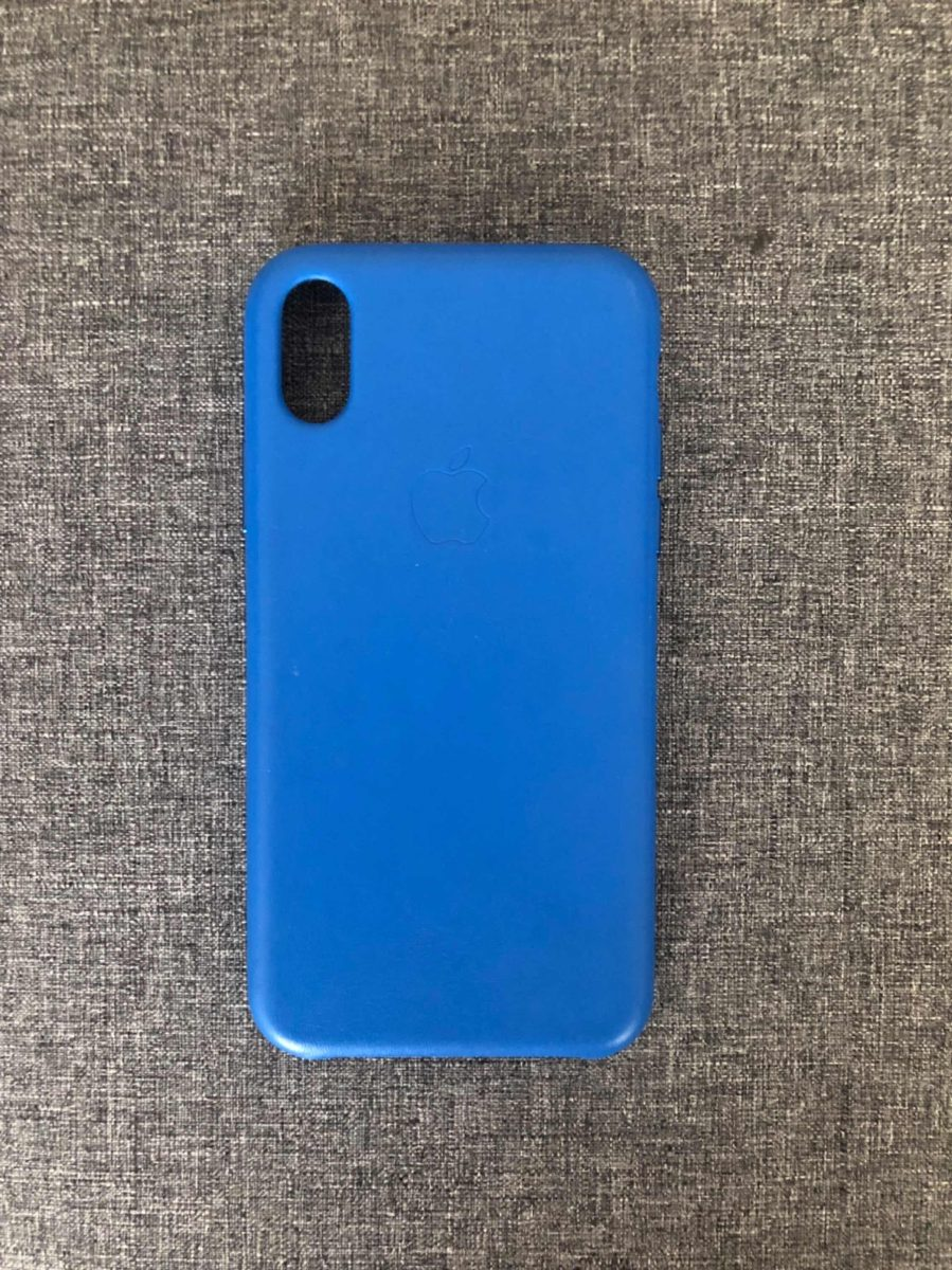 brand new 74950 10964 iPhone X + Leather Case Electric Blue