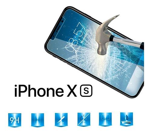 iphone xs apple funda transparente y mica de vidrio templado