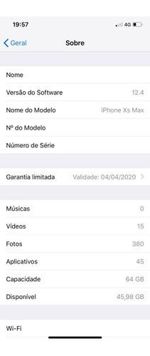 iphone xs max 64gb cinza espacial garantia 04/2020