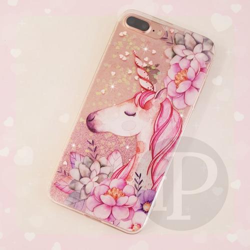 iphone xs max xr x 6 6s 7 8 plus funda tpu unicornio pony glitter brillos