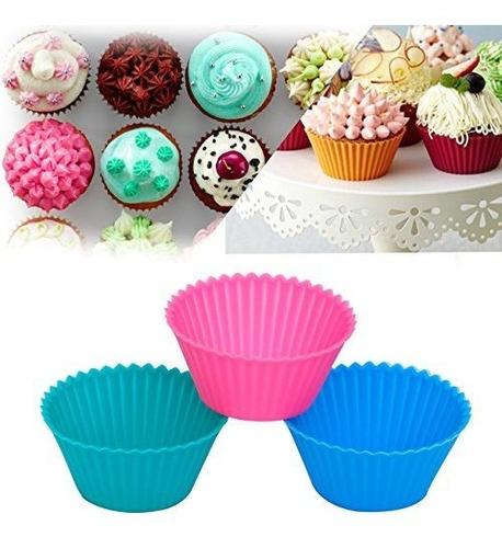 ipow sc01 tazas para hornear cupcake de silicona moldes reut