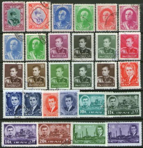 irán = persia 28 sellos usados rey, ruinas persépolis 1969+