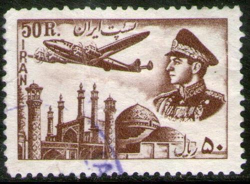 irán sello usado aéreo valor 50r. avión sobre mezquita 1953