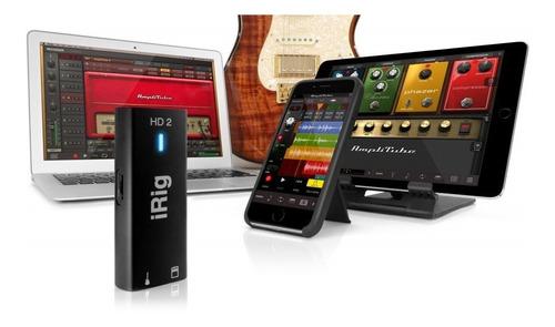 irig hd 2 ik interface de áudio placa som ipad iphone mac pc