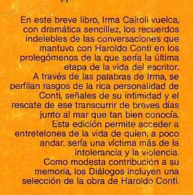 irma cairoli diálogos con haroldo conti 1era. edición