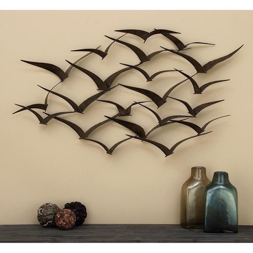 iron flock of birds wall escultura