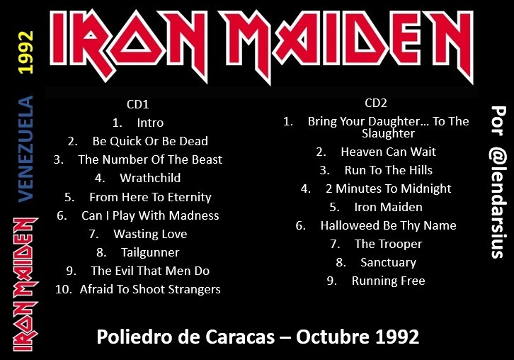 Iron Maiden En Caracas (1992) Mp3 - Bs  20 000,00