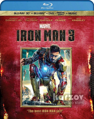 iron man 3 blu-ray 3d + blu-ray + dvd + digital copy + music