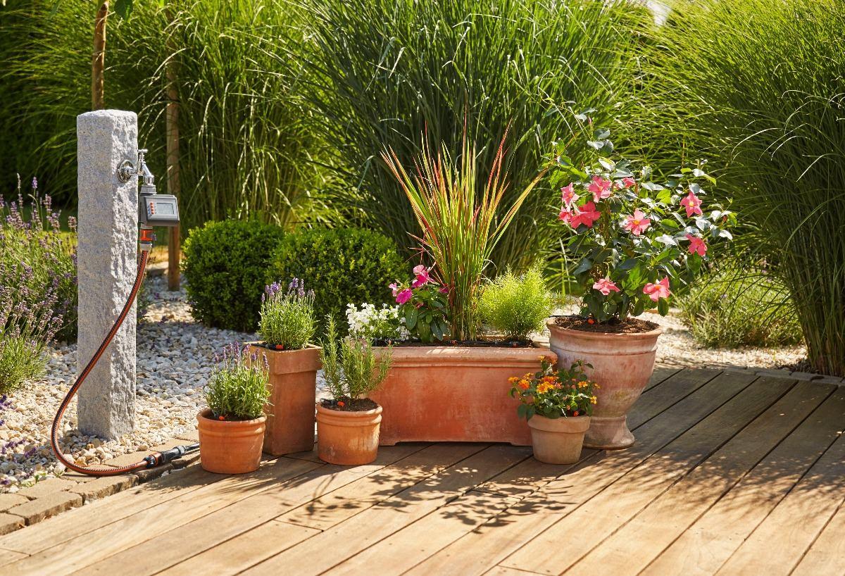 dc400746b irrigação gotejamento gardena 7 vasos 3 calhas + controlador. Carregando  zoom.