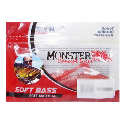 Isca Soft Monster 3x E-shad Premium Red C  5 Un. - R  32 6884fa30fc7
