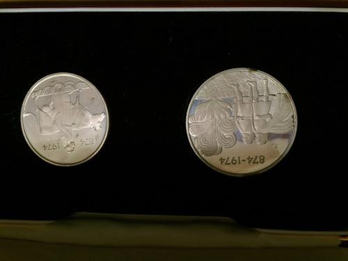 isl-s01 set 2 monedas islandia 1974 plata proof ayff