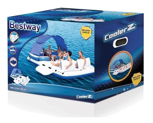 isla flotante gigante familiar bestway + heladera 6 personas