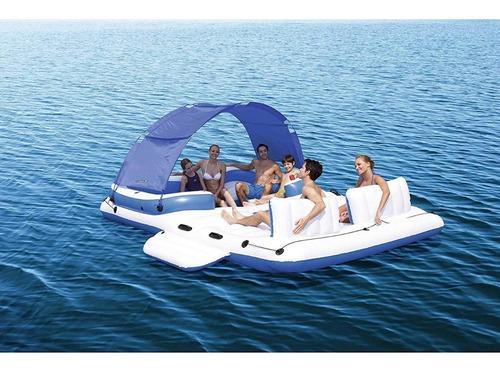 isla inflable flotante para alberca de lujo para 6 personas