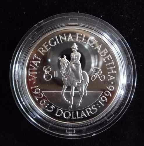 islas cayman moneda grande de 5 dolares año 1996 plata proof