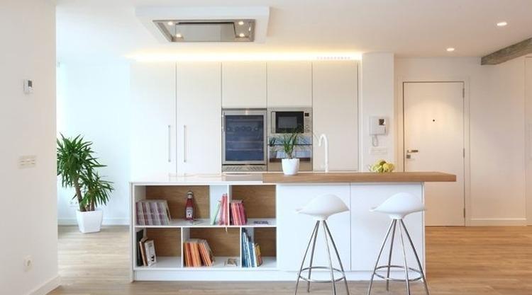 Asombroso Diseño De Isla De Cocina Con Mesa Adjunta Componente ...