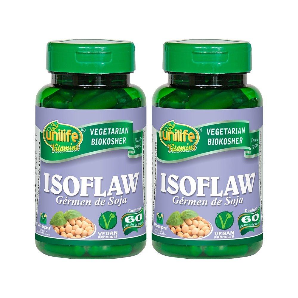 Isoflaw Isoflavona Gérmen De Soja 60 Cápsulas 500mg Unilife Kit 2 Unidades
