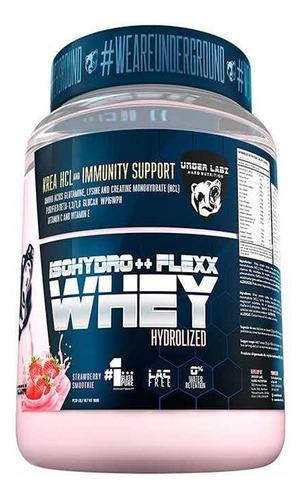 isohydro++flex whey chocolate, leite, morango