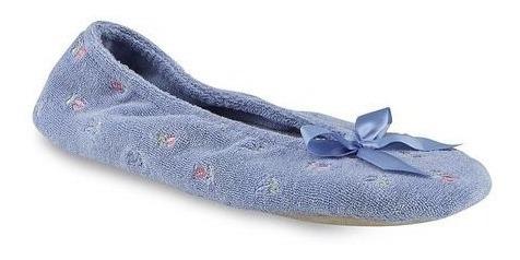 isotoner pantuflas acojinada microfibra blue floral t25-26mx