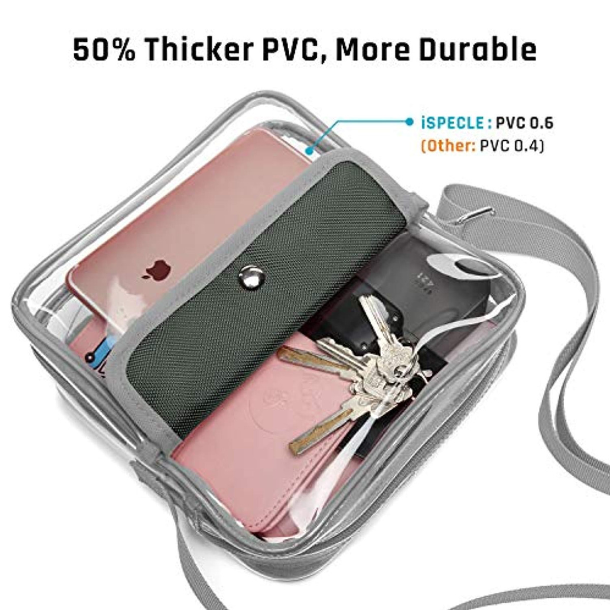 cea9d88c5105 Ispecle Clear Purse, Stadium Bag Approved