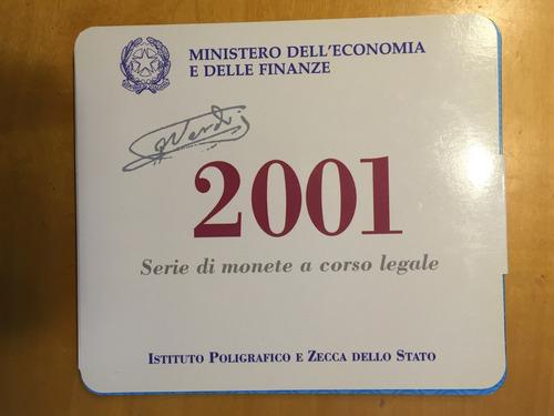 ita-s18 set 12 monedas italia 2001 unc-bu plata ayff