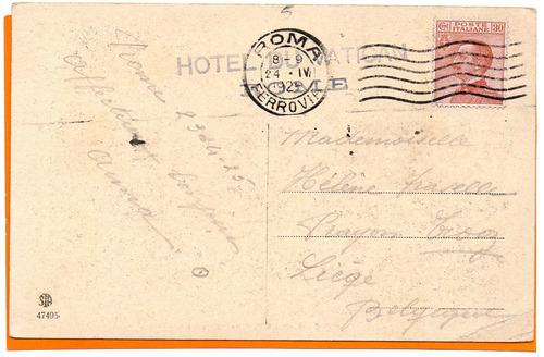 italia 1924 carta postal de roma por ferrovia a belgica -548