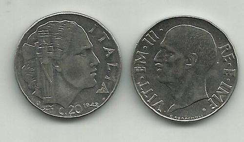 itália - 1942 - 20 centesimi - cara dos dois lados - 11661a