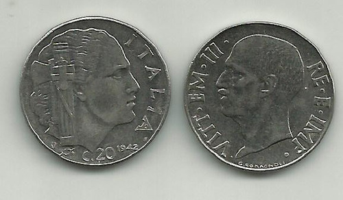 itália-1942-20 centesimi-cara nos 2 lado-11661a-frete grátis