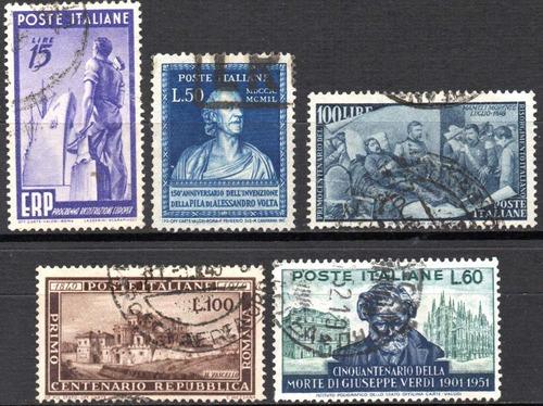 itália 1948/51. 5 selos dessa época com pequenos defeitos